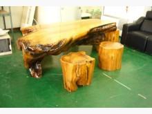 [9成新] 全實木泡茶桌加4椅其它古董家具無破損有使用痕跡