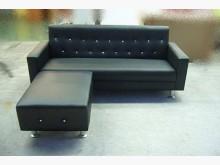 [全新] *A197全新鑲鑽黑色L型皮沙發L型沙發全新