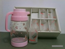 粉色系 豪華 耐熱性玻璃壺杯組S茶壺/水壺全新