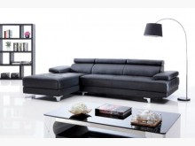 [全新] 強尼黑色L型皮沙發特價49800L型沙發全新