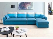 [全新] 天空藍儲物大L型布沙發28800L型沙發全新