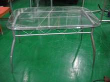 [8成新] 宏品E0702-13玻璃鐵腳桌餐桌有輕微破損