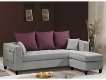 [全新] 紗南L型灰色布沙發L型沙發全新