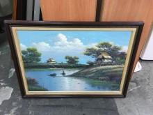 非凡二手家具 風景 油畫收藏擺飾有輕微破損