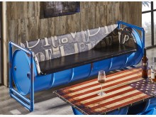 [全新] 加侖藍色仿舊油桶三人皮沙發雙人沙發全新