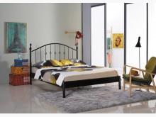 [全新] 菲柏簡約5尺黑色鐵床台雙人床架全新