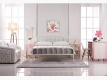 [全新] 約瑟夫簡約5尺白色鐵床台雙人床架全新