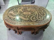 [8成新] 宏品中古傢俱 柚木龍鳳泡茶桌餐桌有輕微破損