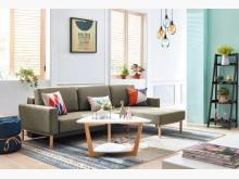 [全新] 亞希功能L型布沙發(墨綠色)L型沙發全新
