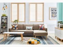 [全新] 亞希功能L型布沙發(淺咖啡色)L型沙發全新