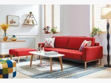 [全新] 拓也功能L型布沙發(紅色)L型沙發全新