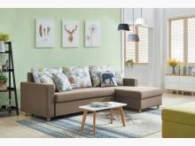 [全新] 歐亞功能L型布沙發(淺咖啡色)L型沙發全新