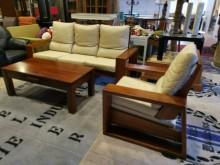 九成新皇齊全牛皮柚木3+1沙發組木製沙發無破損有使用痕跡