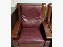 [7成新及以下] 二手酒紅色雲彩獨立筒彈簧皮椅墊木製沙發有明顯破損