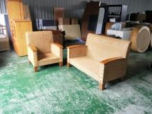 合運二手傢俱~1+2藤製實木沙發籐製沙發有輕微破損