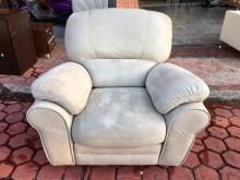 [8成新] 白色麂皮 功能型單人座沙發椅單人沙發有輕微破損