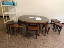 [8成新] 早期雕花泡茶桌椅桌子有輕微破損