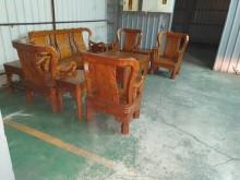 [9成新] 00214-戰國十件組(柚木)木製沙發無破損有使用痕跡