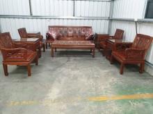 [9成新] 00394-紅木十件組木製沙發無破損有使用痕跡