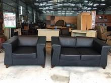 [9成新] 大慶二手家具 黑皮2+1沙發多件沙發組無破損有使用痕跡