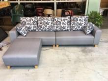 [全新] 大慶二手家具 灰色L型貓抓皮沙發L型沙發全新