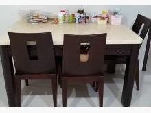 [9成新] 石面紋餐桌(送6張實木皮墊椅)餐桌椅組無破損有使用痕跡