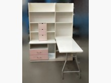 [8成新] E82408*白粉色L型書桌 *書桌/椅有輕微破損