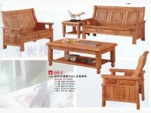 [全新] 全新精品淺茶色橡膠木六人份板組椅木製沙發全新
