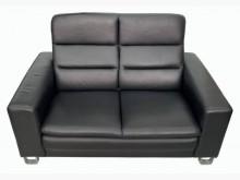 [9成新] A103103*黑色半牛皮雙人雙人沙發無破損有使用痕跡