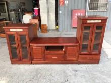 [9成新] 大慶二手家具 紅木色電視酒櫃組電視櫃無破損有使用痕跡