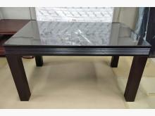 [7成新及以下] 二手胡桃餐桌附玻璃 桃園區免運費餐桌有明顯破損