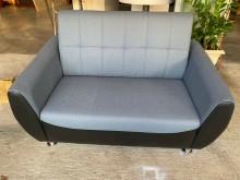 [全新] 蒼青藍配黑色半貓抓皮兩人座沙發雙人沙發全新