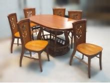 [8成新] B11149*實木餐桌+6椅組餐桌椅組有輕微破損
