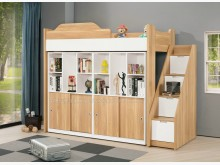 [全新] 2104697-1卡爾書櫃挑高床單人床架全新