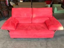 [9成新] 大慶二手家具 桃紅色絨布雙人沙發雙人沙發無破損有使用痕跡