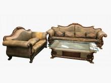 [9成新] 巴洛客2+4牛皮沙發含大茶几木製沙發無破損有使用痕跡