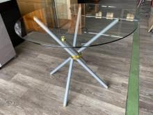 吉田二手傢俱❤庫存新玻璃圓桌餐桌餐桌全新