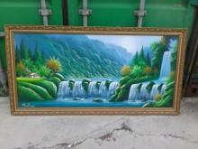 連欣二手傢俱-山水人家油彩畫幅其它有輕微破損