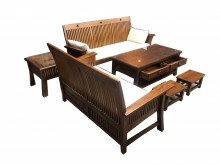 [9成新] 柚木沙發組  二手客廳桌椅木製沙發無破損有使用痕跡
