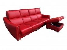 [9成新] 紅色L型半牛皮沙發L型沙發無破損有使用痕跡