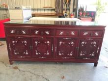 紅木鑲貝四抽收納櫃(含玻)收納櫃無破損有使用痕跡