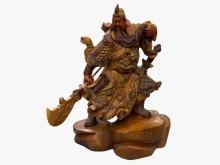 [9成新] 檜木關公 藝術品 木雕 礦石 水擺飾無破損有使用痕跡