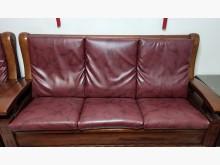 [7成新及以下] 二手酒紅色獨立筒皮椅墊(共三片)木製沙發有明顯破損