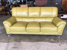 [9成新] 芥黃綠半牛皮獨立筒三人座沙發雙人沙發無破損有使用痕跡