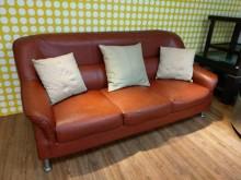 [8成新] 高級透氣三人皮沙發(不含抱枕)雙人沙發有輕微破損