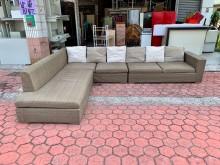 [9成新] 褐綠色棉麻布12尺L型超大沙發組L型沙發無破損有使用痕跡