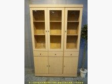 [9成新] 二手白橡色124公分三抽玻璃書櫃書櫃/書架無破損有使用痕跡