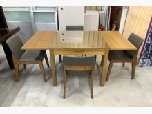 實木延伸餐桌椅組/一桌四椅餐桌椅組近乎全新