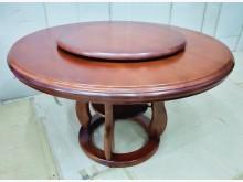 [8成新] 二手柚木4.2尺實木圓餐桌含轉盤餐桌有輕微破損