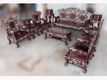 [8成新] RW-415*花梨木鑲貝10件組木製沙發有輕微破損